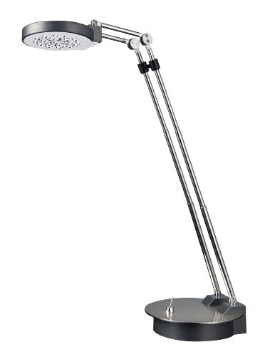 Normande Lighting GS5-832 Brushed-Steel 8-to-14-Inch Adjustable-Height LED Desk Lamp
