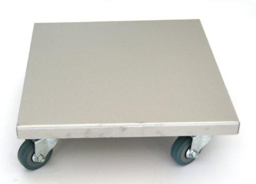 Möbelroller / Pflanzenroller 30x30 cm, Edelstahl, 150kg, PUroller Rolle + Bremse