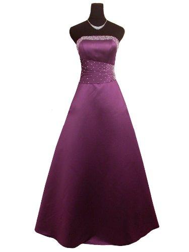 Qpid Showgirl Langes Abendkleid, A-Linie Kleid mit Luxus-Satin, Farbe lila, 3402PU