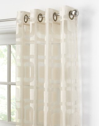 Cheap Othello Modern Geometric Curtain Panel On Sale  White sheer curtains for sale