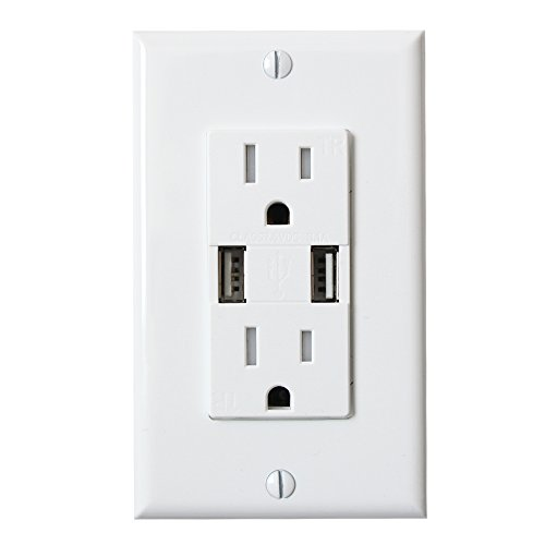 Experia Innovations Wall Outlet High Speed USB Charger Receptacle Front
