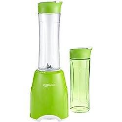 AmazonBasics Mix & Go - Batidora de vaso para smoothie (300 W, 2 vasos sin BPA), color verde