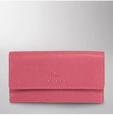 FOSSIL Damen Leder Geldbörse 'POPSTITCH CLUTCH' Portemonnaie rosa - SL8635650