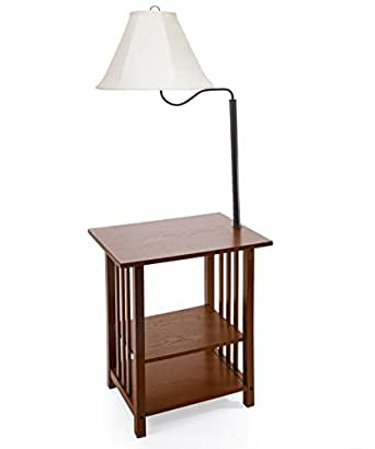 Combination Floor Lamp End Table with Shelves and Swing