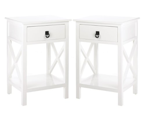 2 Nightstands White Wood One Drawer And Shelf Side Table
