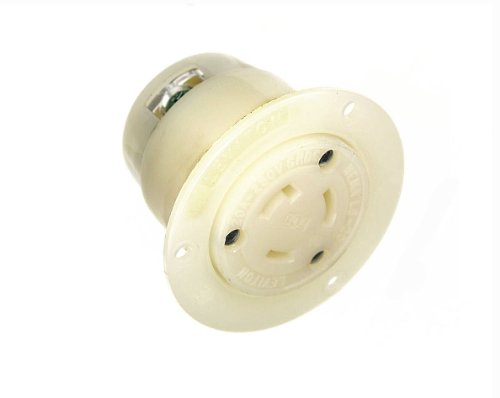 Leviton 2326 20 Amp, 250 Volt, Flanged Outlet Locking Receptacle, Industrial Grade, Grounding, White