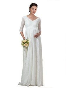 Bridess-Womens-V-Neck-Lace-Pregnant-Maternity-Wedding-Dress-with-Sleeve
