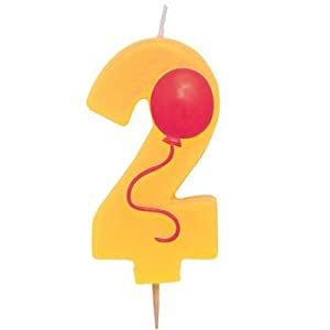 "Numeral Birthday Candle 3.5"" w/Balloon #2"