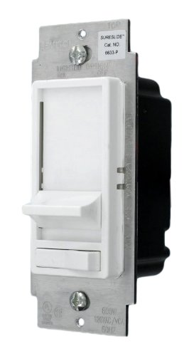 Leviton 6633-1LW 600W 120-Volt AC 60Hz 3-Way Illuminated SureSlide Preset Electro-Mechanical Incandescent Slide Dimmer, White