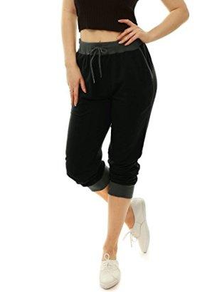 Allegra-K-Women-Drawstring-Elastic-Band-Contrast-Color-Jogger-Pants-Black-XS
