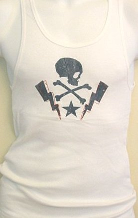 Rock Steady Clothing Skull Lightening Bolt Tattoo Design Muscle Beater Shirt , White Tattoo Design Embroidered Beater Shirt from Steady Clothing Overview