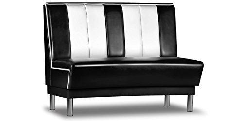 Dinerbank AMERICANO Gastro Retro Möbel Sitzbank Polsterbank USA Style Dinermöbel Schwarz Weiss 120cm