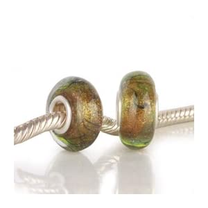 Magical Golden Glow in Forest Green Glass Bead with 925 Sterling Single Core