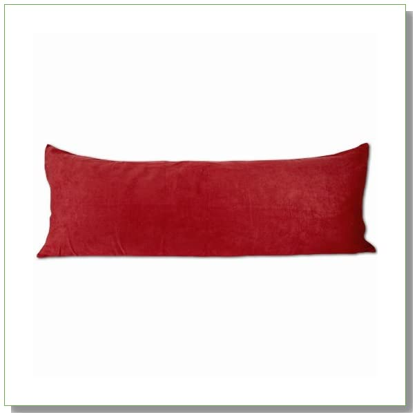 Red Microsuede Body Pillow Cover With Double Sided Zippers 20