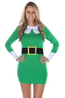 Women's Ugly Christmas Sweater - Elf Sweater Dress Green