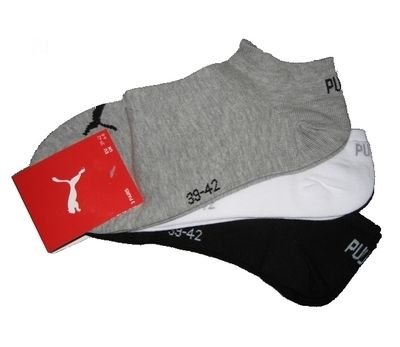Puma Sneaker Socken 3Paar Unisex Invisible 251025 Gr. 43-46 grau,weiß,schwarz