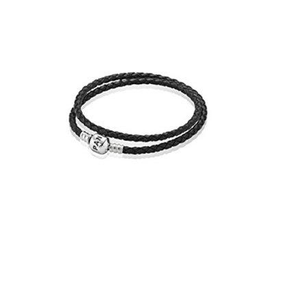 Pandora-590705CBK-D1-138-Inch-Double-Black-Leather-Bracelet