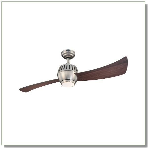 Westinghouse Lighting 7852400 Sparta One-Light 52-Inch Two-Blade Indoor Ceiling Fan, Brushed Nickel with Opal Frosted Glass