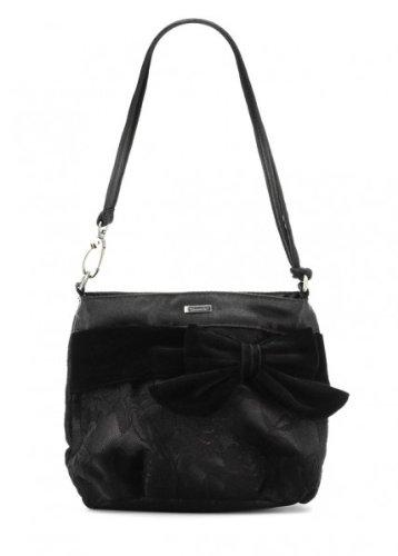 TAMARIS Abend Clutch, Satin-Handtasche mit Spitze und Samt-Schleife, schwarz