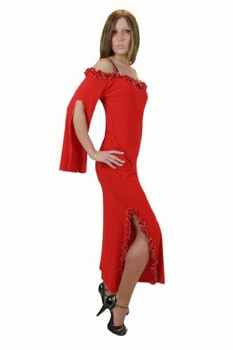 Elegantes Abendkleid mit Spaghettiträgern, Einheitsgröße S bis XL, Farbe rot