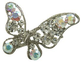 butterfly hair clip with white rhinestones beauty