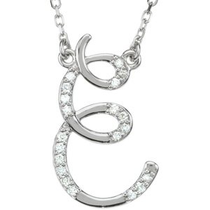 Diamond Initial Letter 'E' Rhodium-Plated 14k White Gold