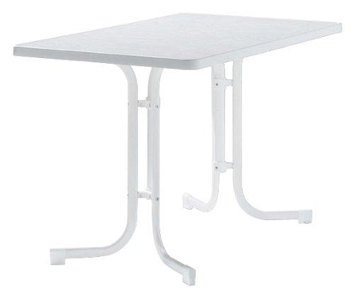 Sieger 133/W Boulevard-Klapptisch, 115 x 70 cm, Stahlrohrgestell weiß, Mecalit-Pro-Tischplatte Marmordekor weiß, Tischhöhe ca. 72 cm