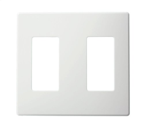 Leviton AWP0F-20W Wallplate for Renoir II Architectural Wall Box Dimmer, Fins Left On, 2 Narrow Dimmers Supported, White