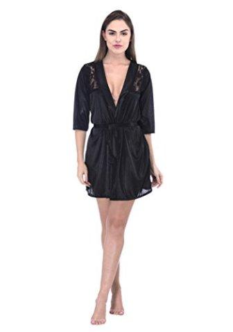 Bomshel Women Black Nightwear Babydoll with Panty