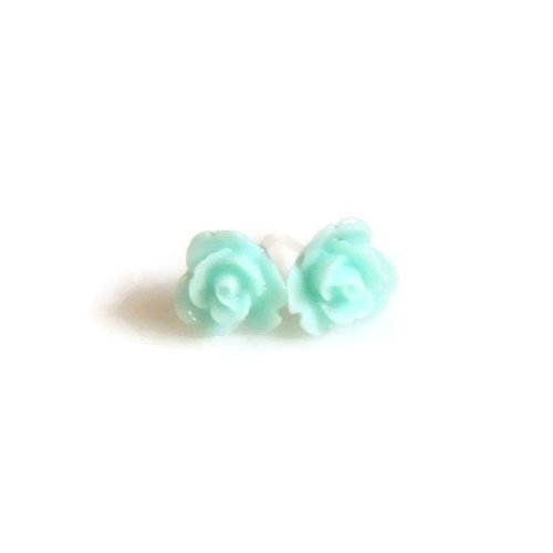 8mm Small Light Turquoise Rose Earrings on Plastic Posts