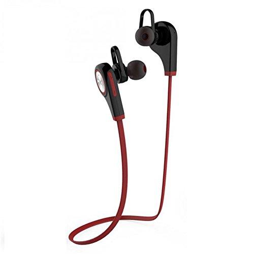 Meily Bluetooth 4.1 ワイヤレスイヤホン スポーツヘッドセット マイク内蔵 ハンズフリー 通話 ノイズキャンセリング搭載 ブラック+レッド