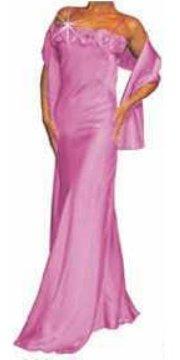 Abendkleid lang mit 7 Blumen pink Größe 36