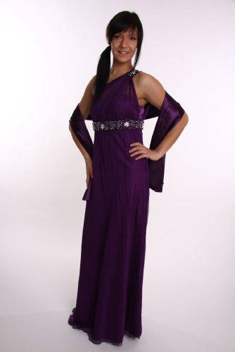 Modell 2017 Abendkleid lang, schulterfrei, Toga-Stil, lila Größe 36