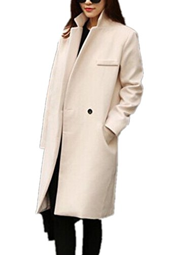 Womens Warm Wool Single Button Blended Business Classic Coat Jacket Outerwear
