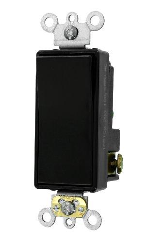 Leviton 5621-2E 20-Amp 120/277-Volt Decora Plus Rocker Single-Pole AC Quiet Switch, Black