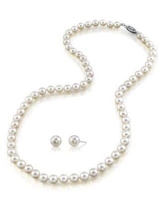 14K-Gold-White-Akoya-Cultured-Pearl-Necklace-Matching-Earrings-Set-18-Princess-Length-AAA-Quality