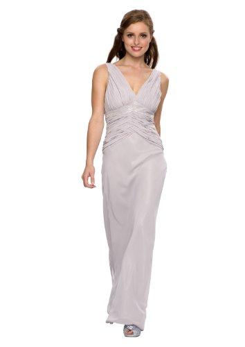 Langes Abendkleid, mit Strass, Perlen, Farbe silber, Astrapahl, Gr.38