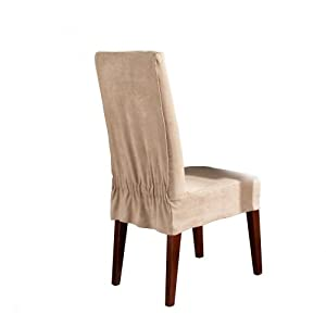 Sure Fit Soft Suede Shorty Dining Room Chair Slipcover Taupe Home Amp Kitchen