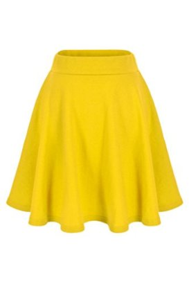 Basic-Solid-Stretchy-Cotton-High-Waist-A-line-Flared-Skater-Mini-Skirt-L-Yellow