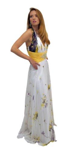 E And Lisa Abendkleid Cleopatra Weiß Mit Strass Und Muster Gelb