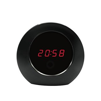 Littleadd-Hidden-Camera-Clock-Spy-Camera-Remote-Control-Video-Nanny-Cam-for-PetBaby-Monitoring-8GB-Included-Bright-Black