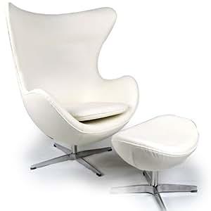 Amazoncom  Kardiel Egg Chair  Ottoman Cream White