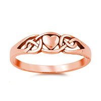 Celtic Simple Plain Heart Ring Promise Ring Rose Gold