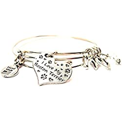 I Love My Boston Terrier Heart Bangle Set