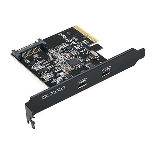 dodocool 超高速USB3.1 PCI-Express(x4,x8,x16)カード 外部2つUSB3.1Type-Cボード 内部15ピン 対応 10Gbps Windows 7/8 / 8.1 / 10&Linux Kernal等のシステムに対応