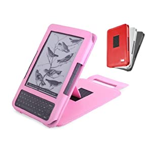 "DURAGADGET New Pink Genuine Leather Kindle Case / Cover With Adjustable Stand For New 2010 Amazon Kindle 3, Amazon Kindle 3 Case, Amazon Kindle 3g case, Amazon Kindle Wi-Fi Case, 6"" Display, Kindle Graphite, Latest Generation"