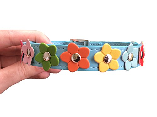 Blue Flower Collar- Vegan Friendly & Nature Inspired: Dog and Cat Faux Leather Collar- Blue