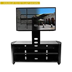 Kanto OASIS 50 Plus AV Component Stand With TV Mount For 37 to 70-Inch Displays, Tempered Glass Shelves, Black