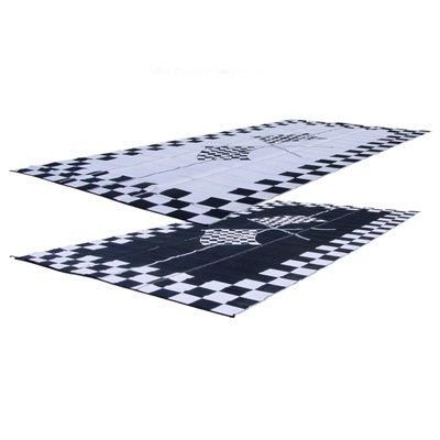 RV Patio Mat: 9x12 Finish Line Checkered Flags Mat