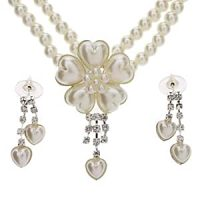 Amazon.com: Flower Shaped Pearl Earrings + Necklace ...